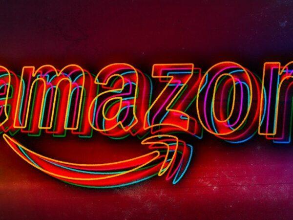 Amazon logo in neon (Best HQ Wallpapers)