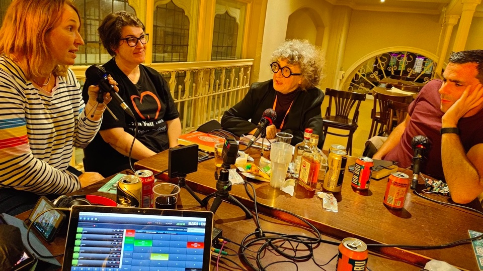 Recording the Slaughtered podcast at the Gilded Balloon (Ewan Spence)